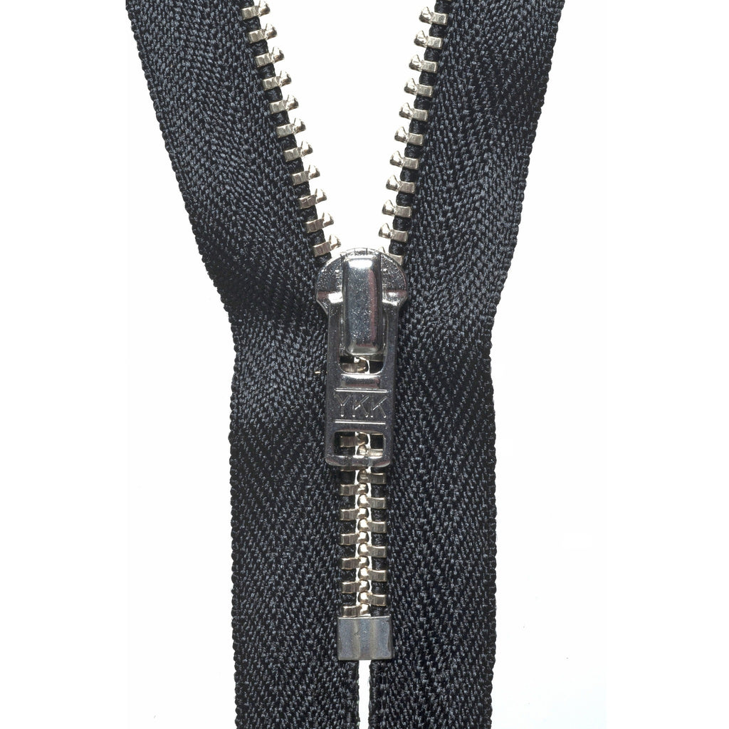 Metal Trouser Zip - 18cm - Black