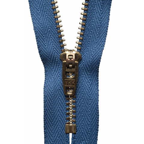 Brass Jeans Zip - 15cm/5.90in - Slate Blue