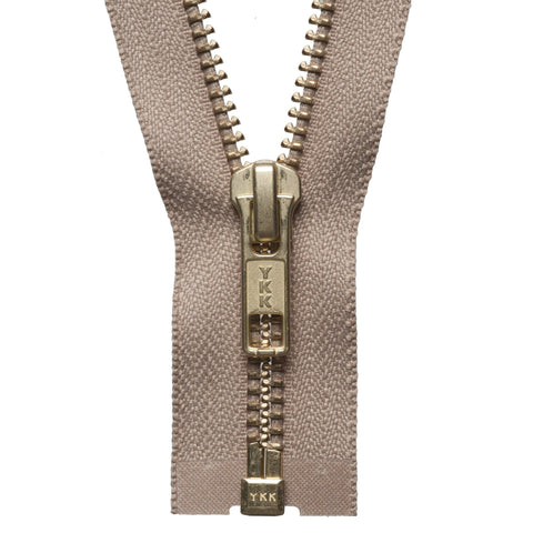 Brass Metal Open End Zip - 71cm - Fawn