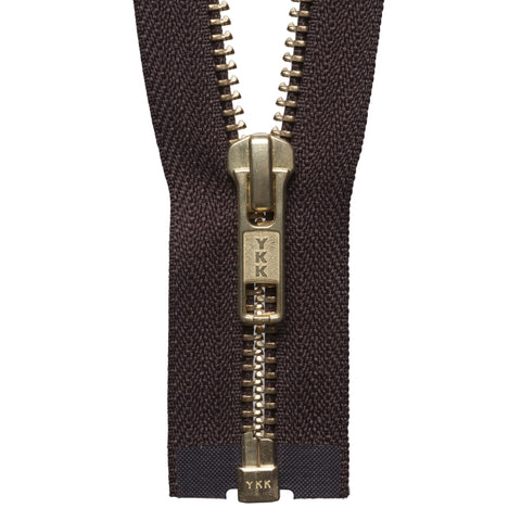 Brass Metal Open End Zip - 71cm - Brown