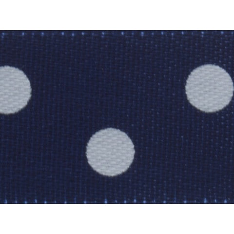 Satin - 5m x 15mm - Polka Dot - Navy