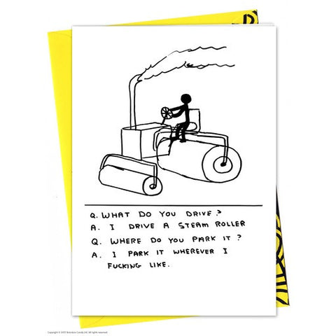 David Shrigley - Steam Roller - Card