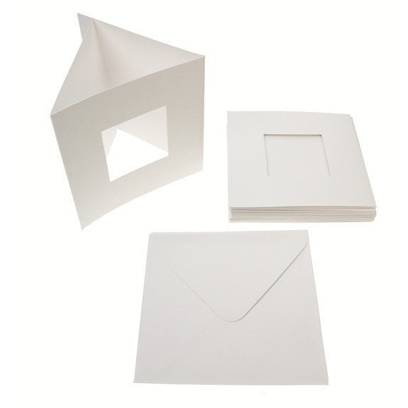 Square Tri Fold Photo Aperture Card Blanks 300gsm 10Pk - White