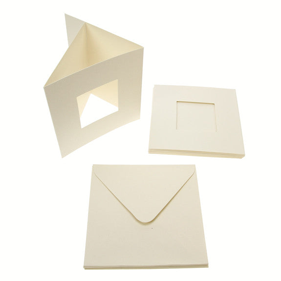 Square Tri Fold Photo Aperture Card Blanks 300gsm 10Pk - Cream