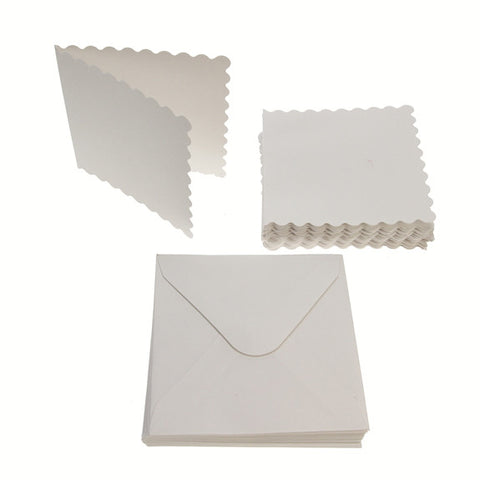 3x3 Scalloped Card Blanks 300gsm 20Pk - White