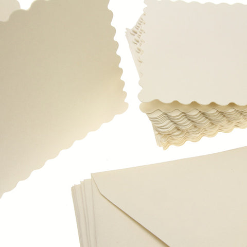 3x3 Scalloped Card Blanks 300gsm 20Pk - Cream