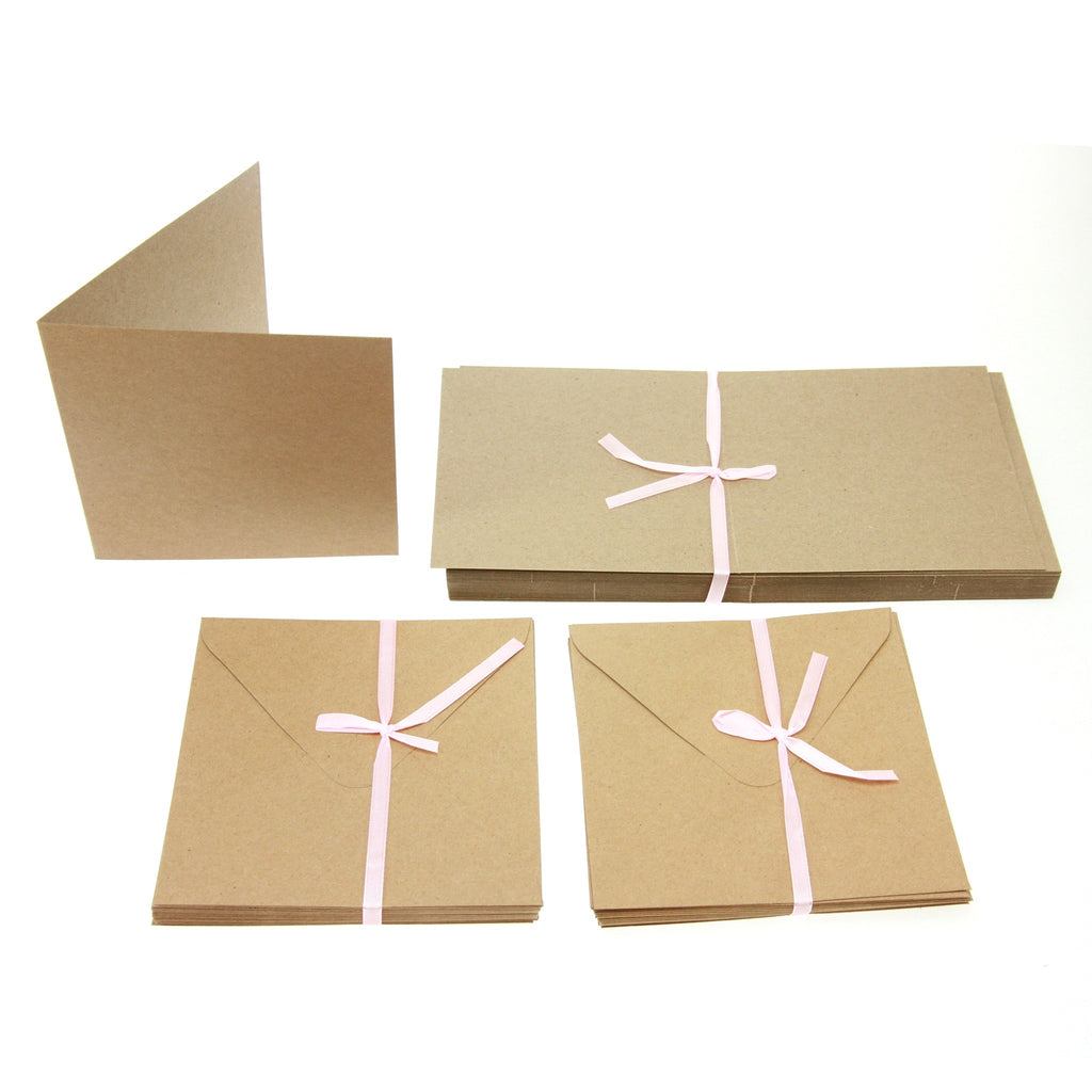 Square Card Blanks  50Pk - Recycled Kraft