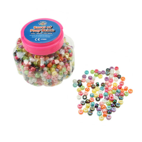 Barrel Of Pony Beads Assorted Colours 250g