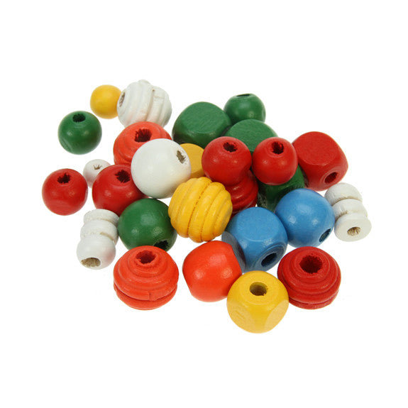 Wooden Craft Beads 6mm-15mm 200g