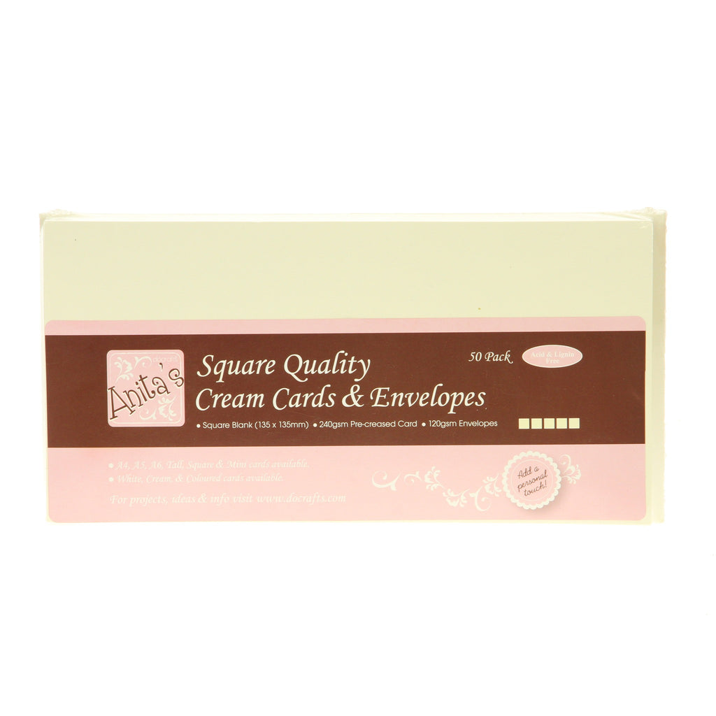 Anitas Card Packs - 50 Pack - Square Cream