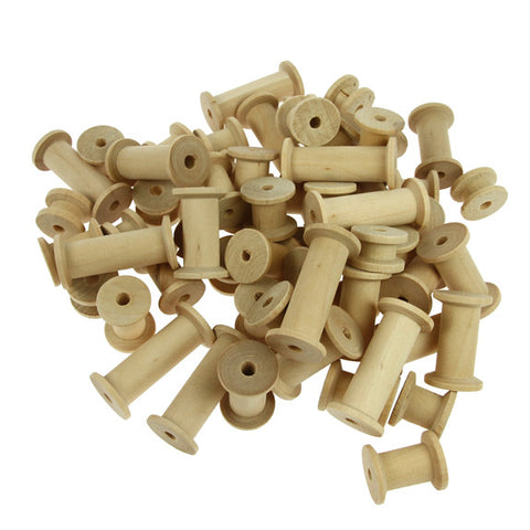 Assorted Wooden Spools, Natural - 60 Pack