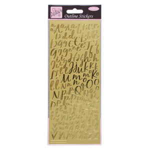 Outline Stickers Modern Alphabet Gold