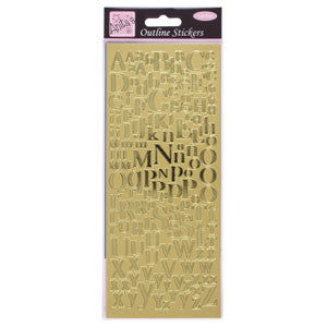 Outline Stickers Mixed Serif Alphabets Gold