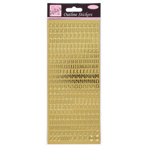 Outline Stickers Capital Letters Gold