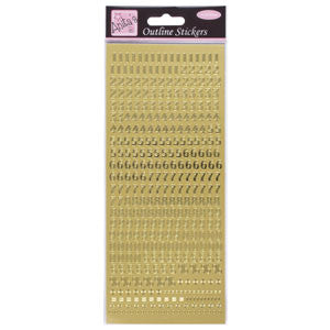 Outline Stickers Small Numbers Gold