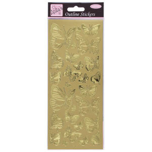 Outline Stickers Butterfly Gold