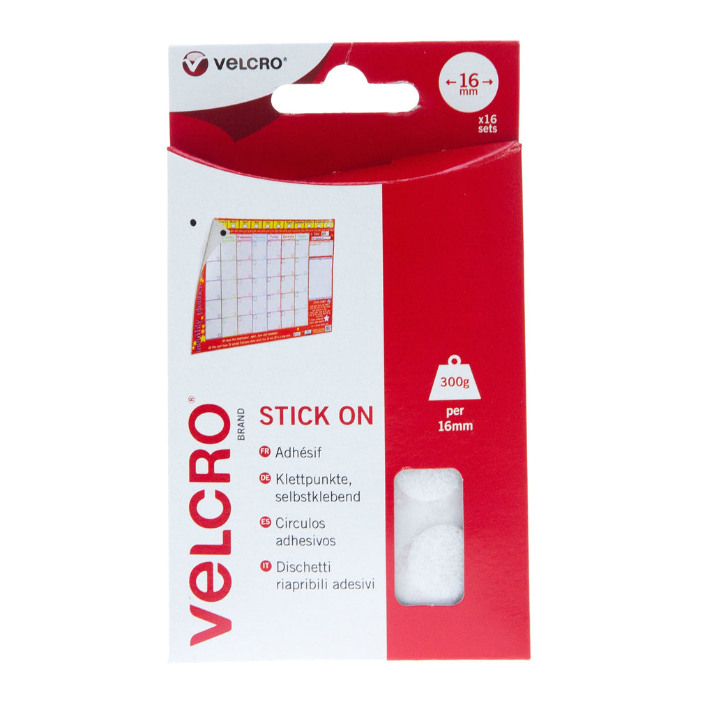 VELCRO® Brand Stick On Coins Hook & Loop 16mm x 16 Sets White