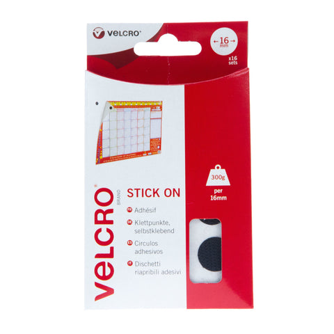 VELCRO® Brand Stick On Coins Hook & Loop 16mm x 16 Sets Black