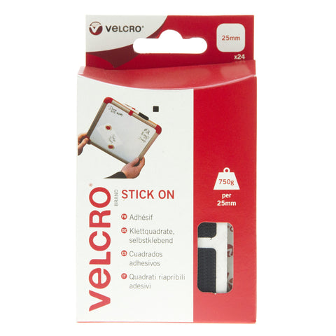 VELCRO® Brand Stick On Squares Hook & Loop 25mm x 24 Sets Black