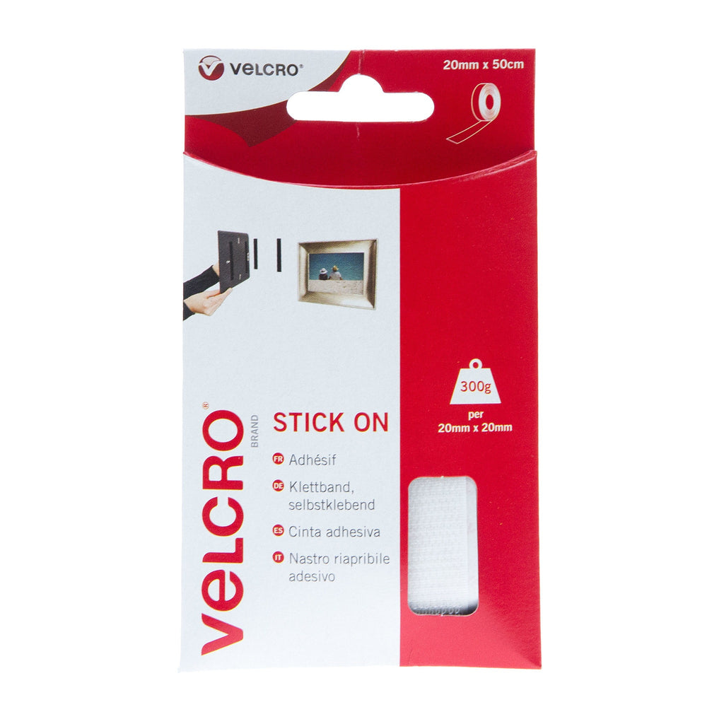 VELCRO® Brand Stick On Tape Hook & Loop 20mm x 50cm White
