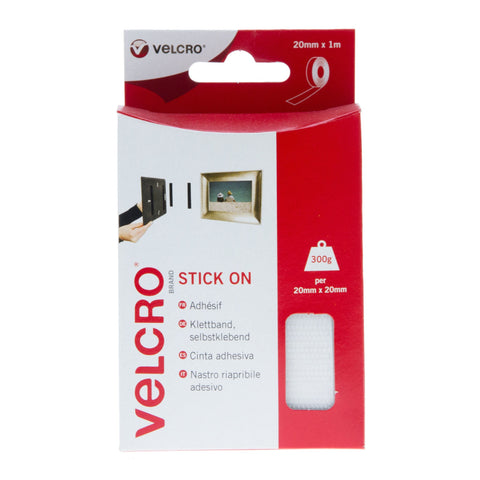 VELCRO® Brand Stick On Tape Hook & Loop 20mm x1m White