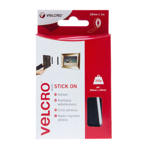 VELCRO® Brand Stick On Tape Hook & Loop 20mm x1m Black