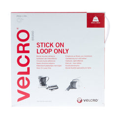 VELCRO® Brand Stick On Tape Loop Only 20mm x 10m White