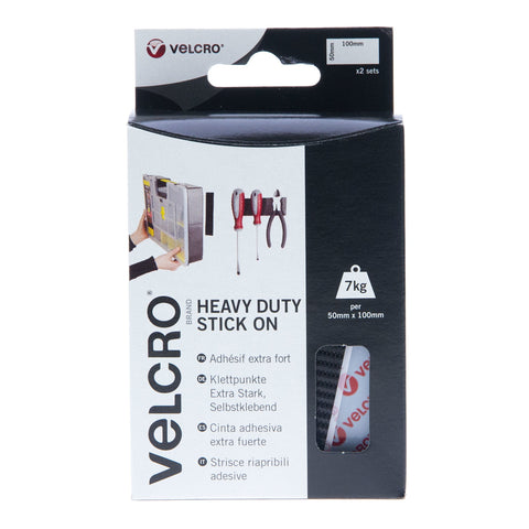 VELCRO® Brand Heavy Duty Stick On Strips Hook & Loop 50mm x 100mm x 2 Sets Black