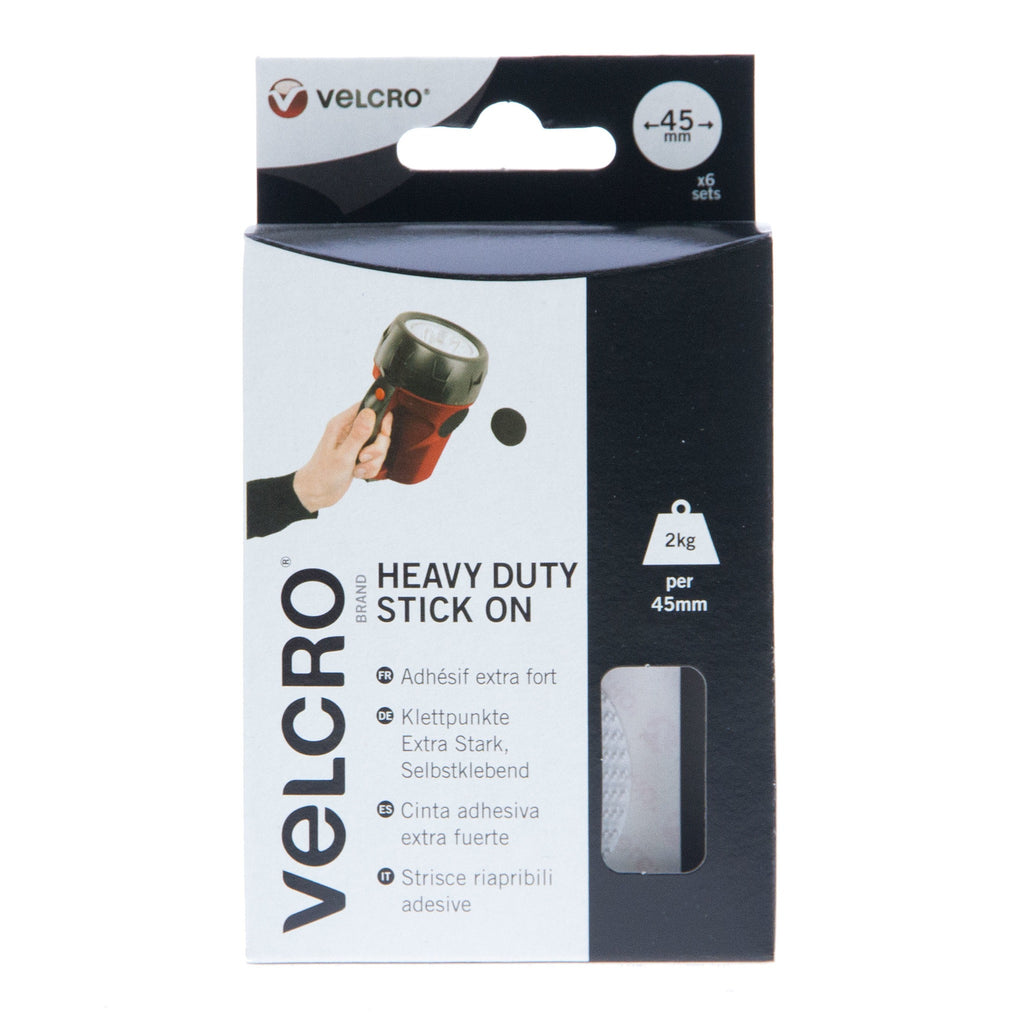 VELCRO® Brand Heavy Duty Stick On Coins Hook & Loop 45mm x 6 Sets White
