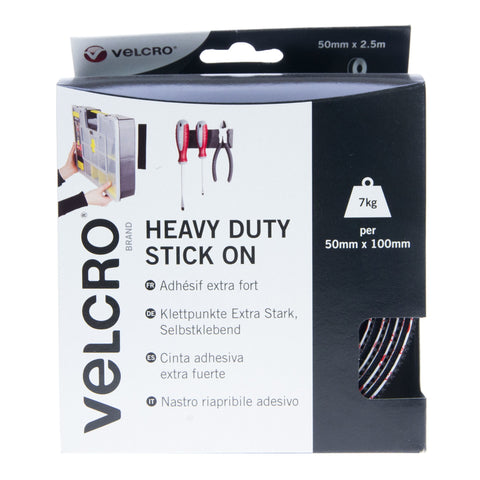 VELCRO® Brand Heavy Duty Stick On Tape Hook & Loop 50mm x 2.5m Black