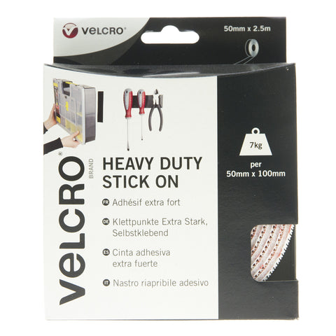 VELCRO® Brand Heavy Duty Stick On Tape Hook & Loop 50mm x 2.5m White