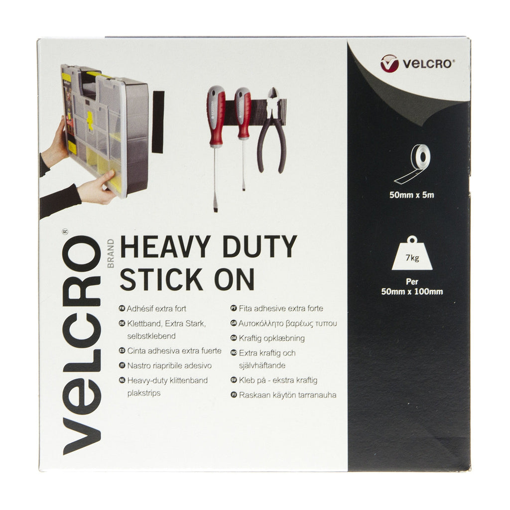 Velcro Heavy Duty Stick On Tape Hook & Loop 50mm x 5m Black