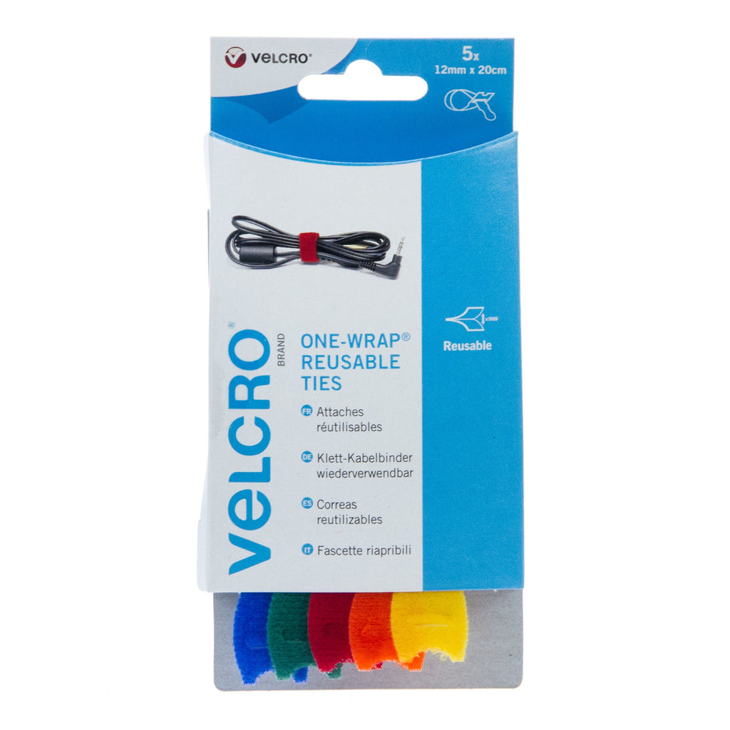 VELCRO® Brand Cable Manager Ties Back to Back Hook & Loop 12mm x 20cm x 5 Multi
