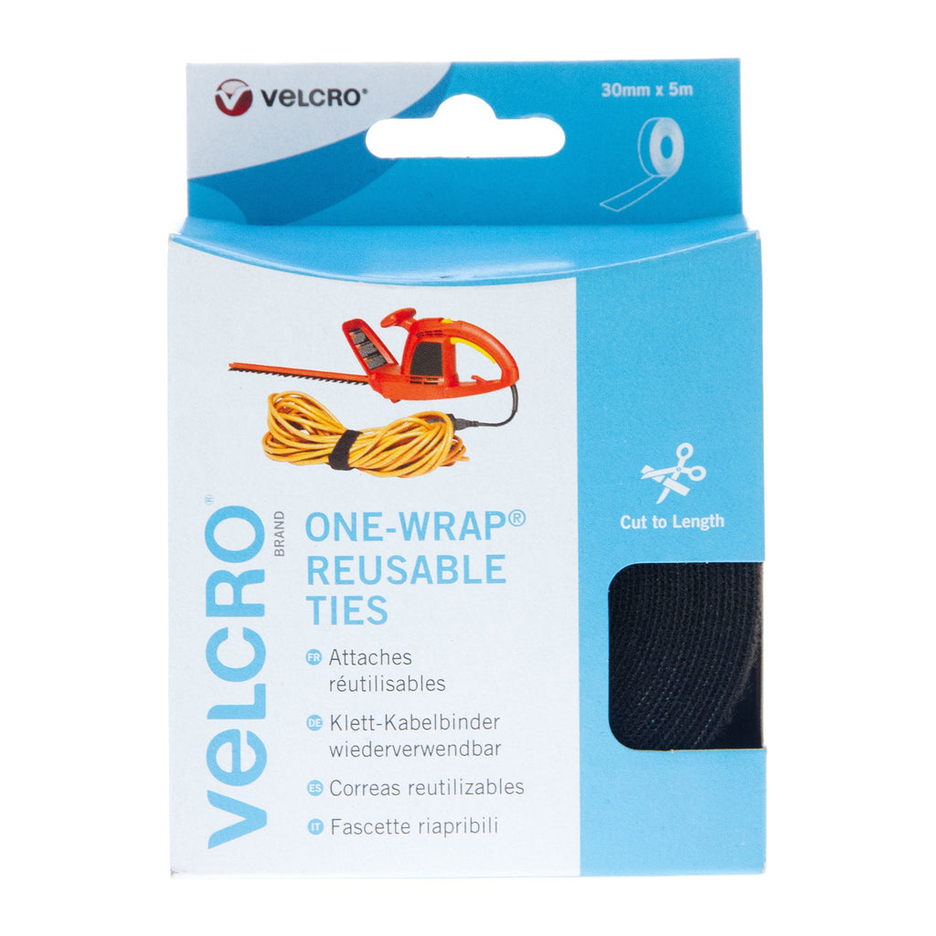 VELCRO® Brand Cable Manager Tape Back to Back Hook & Loop 30mm x 5m Black