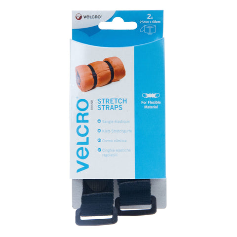 VELCRO® Brand Adjustable Strap Stretch 25mm x 68cm x 2 Black