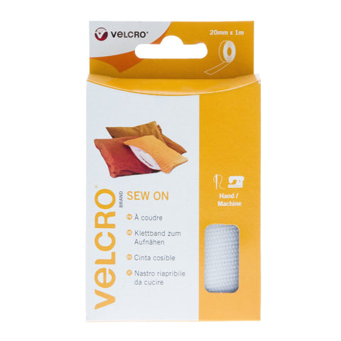 VELCRO® Brand Sew On Tape Hook & Loop 20mm x 1m White