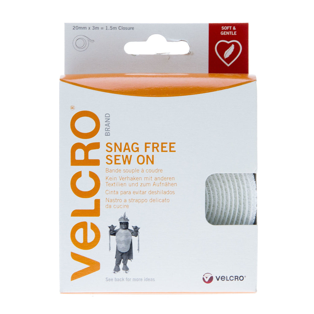 VELCRO® Brand Snag Free Sew On Tape Hook & Loop 20mm x 3M White