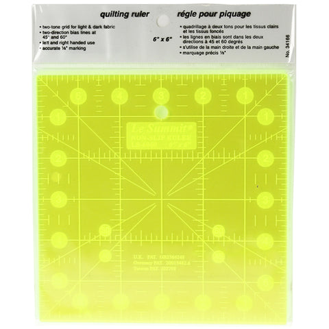 Le Summit Non-Slip Fluorescent Quilting Ruler - 6 x 6""