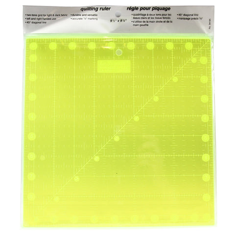 Le Summit Non-Slip Fluorescent Quilting Ruler - 9.5 x 9.5""