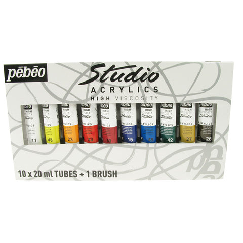 Pebeo Studio Acrylic Sets - 10 X 20ml Set + Brush