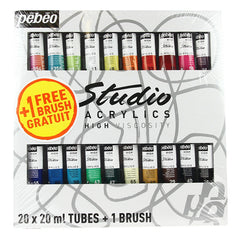 Pebeo Studio Acrylic Sets - 20 X 20ml Set + Brush