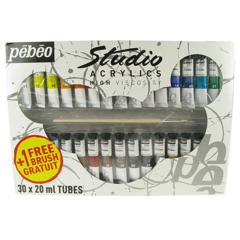Pebeo Studio Acrylic Sets - 30 X 20ml Set + Brush