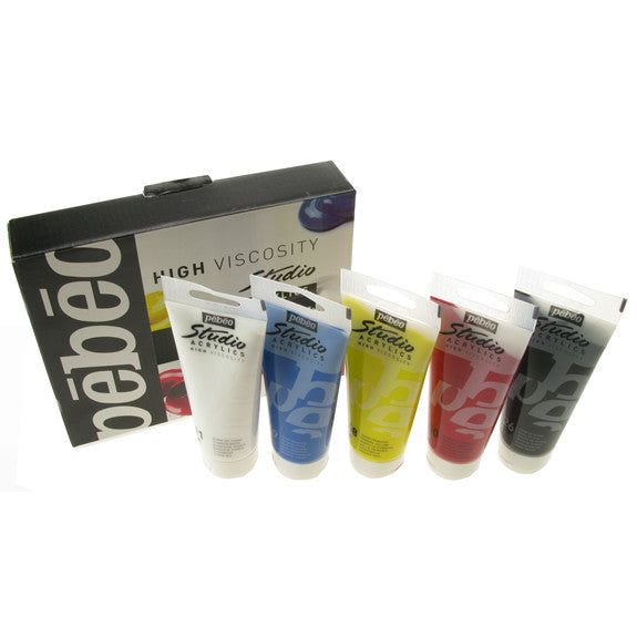 Pebeo Studio Acrylic Sets - 5 X 100ml Primary Pack
