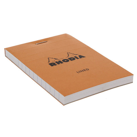 Rhodia Orange Head Stapled Pad 7.4X10.5Cm Sq.Lined 11600C