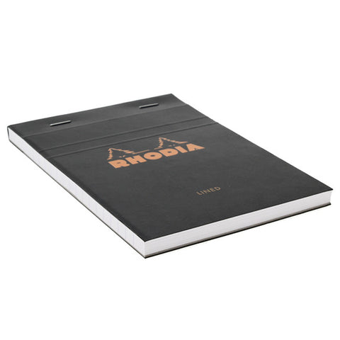 Rhodia Black Head Stapled Pad 10.5X14.8Cm Lined 136009C
