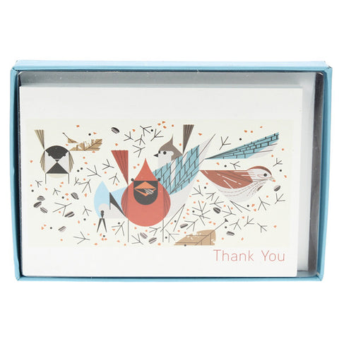 Charley Harper Thank You Cards Box - Birdfeeders