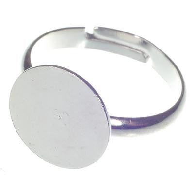 Ring Base 12mm - Silver colour Pack of 10