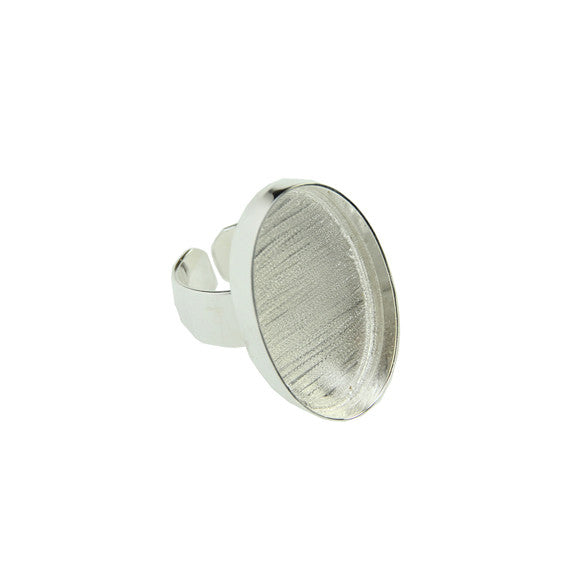 Bezel Handmade Ring Oval Silver Plated