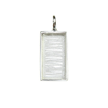 Bezel Handmade Pendant Rectangle Silver Plated