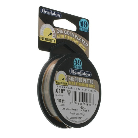 "Beadalon 49 Strand Wire .018"" Gold Plate 10ft (3m)"